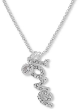 """lonna & lilly Silver-Tone Crystal Love Pendant Necklace, 16"""" + 3"""" extender"""