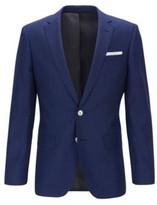 HUGO BOSS - Slim Fit Jacket In Virgin Wool With Pocket Square - Dark Blue