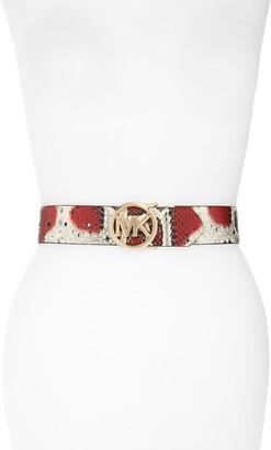 Michael Kors Reversible Snake Embossed Leather Belt