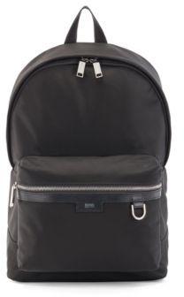 HUGO BOSS Lightweight Backpack In Nylon Gabardine With Leather Trim - Black