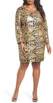 Marina Plus Size Women's V-Neck Sequin Sheath Dress
