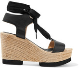 Paloma Barceló Carla Lace-Up Leather Wedge Sandals