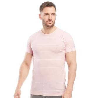 French Connection Mens Thin Stripe Print T-Shirt Pink Melange/White
