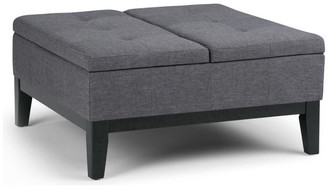 Brooklyn + Max Dover Square Coffee Table Ottoman with Split Lift Up Lid, Slate Gray