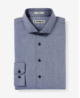 Express fitted micro print dress shirt