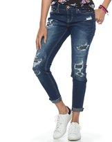 Rampage Juniors' Fray Hem Ripped Skinny Jeans