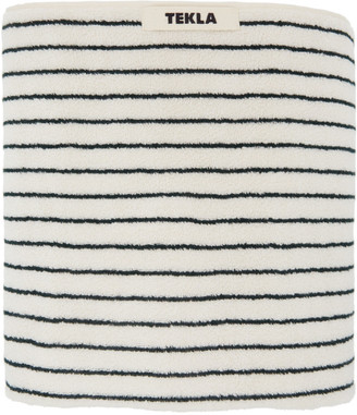 Tekla Off-White and Green Organic Striped Towel
