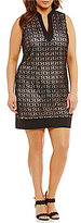 Jessica Howard Plus Split-Neck Shift Dress
