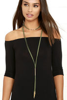 LuLu*s Way to Wow Gold and Olive Green Layered Choker Necklace