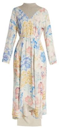 Vetements Contrast-panel Floral-print Dress - Multi