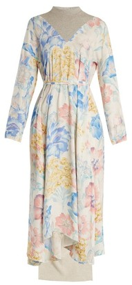Vetements Contrast-panel Floral-print Dress - Womens - Multi