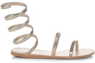 Ancient Greek Sandals Ofis Wraparound Ankle-Strap Metallic Leather Sandals