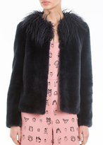 Shrimps Fifi Faux Fur Jacket Navy