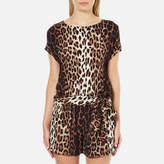 Moschino Women's Tie Waist Playsuit Leopard