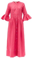 Solid & Striped Ruffled-cuff Linen Midi Shirtdress - Womens - Pink