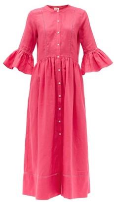 Solid & Striped Ruffled-cuff Linen Midi Shirt Dress - Womens - Pink