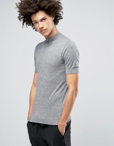 Asos Knitted Turtleneck T-Shirt In Gray