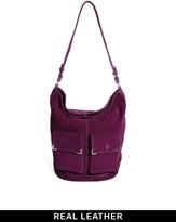 Asos Leather Hobo Bag With Metal Corner Fitting - Purple