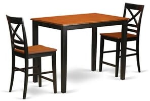East West Furniture Solid Rubberwood 3-piece Counter-height Pub Dining Set