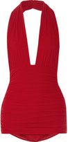 Norma Kamali Bill Ruched Halterneck Swimsuit - Red
