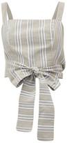Loup Charmant Pilos Cropped Striped Cotton-blend Top - Womens - Beige Stripe