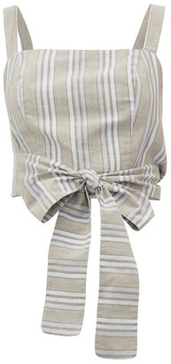 Loup Charmant Pilos Cropped Striped Cotton-blend Top - Beige Stripe