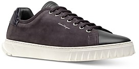 Salvatore Ferragamo Men's Cube Leather & Suede Low-Top Sneakers