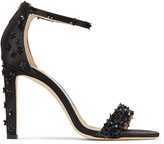 Jimmy Choo DEIA 100 Black Satin Stiletto Sandals with Flower Sequin Embroidery