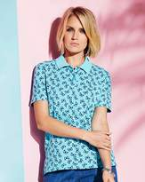 Web Butterfly Print Collared Polo Shirt