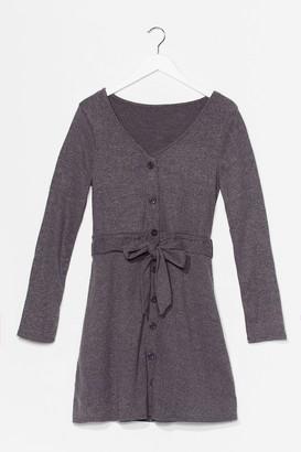 Nasty Gal Womens We Be-Sleeve You Button-Down Mini Dress - Charcoal