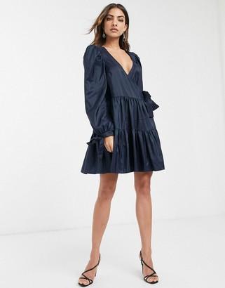 Asos Design DESIGN wrap front smock mini dress in taffeta-Navy