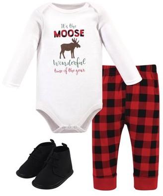 Hudson Baby Boy Long Sleeve Bodysuit, Pants & Shoes, 3pc Outfit Set