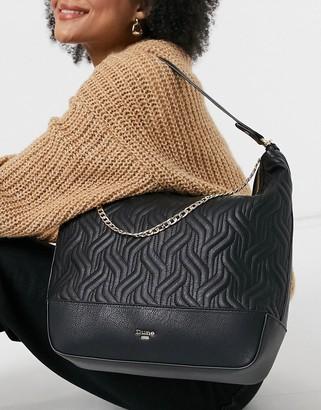 Dune devaris quilted shoulder bag with chain in black