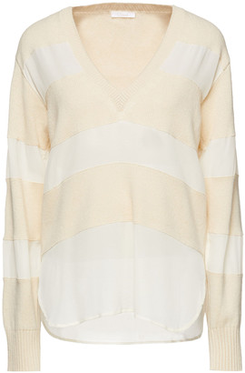 Chloé Paneled Wool And Silk-blend Sweater