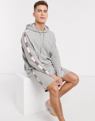 Asos DESIGN pyjama short and oversized hoodie set in gray marl with branded taping