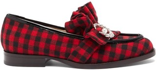 Midnight 00 Antoinette Embellished Checked-twill Loafers - Womens - Black Red