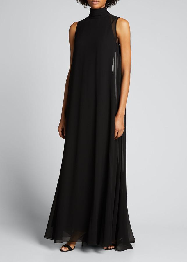 Badgley Mischka High-Neck Georgette Cape Dress