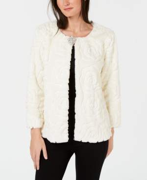 JM Collection Petites Faux Fur Sequin Jacket, Created for Macy's