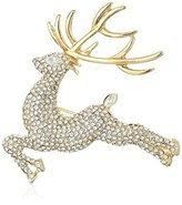 "Anne Klein Holiday Boxed"" Gold-Tone Pave Reindeer pin"