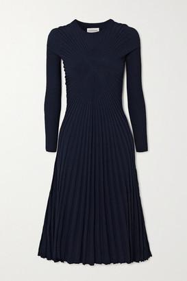 By Malene Birger Duma Plisse-georgette Midi Dress - Midnight blue