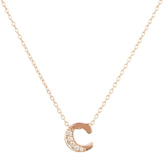 Latelita Diamond Initial Letter Pendant Necklace Rose Gold C