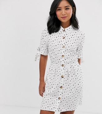 Miss Selfridge Petite shirt dress in polka dot-White