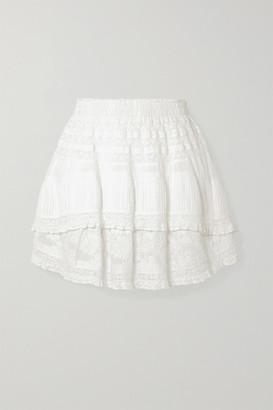 LoveShackFancy Adelia Crochet-trimmed Embroidered Cotton-voile Mini Skirt - White