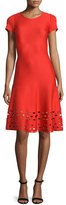 St. John Laser-Cut Knit Short-Sleeve Dress, Geranium