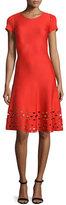 St. John Laser-Cut Knit Short-Sleeve Dress, Geranium