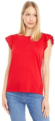 Lauren Ralph Lauren Petite Cotton Ruffle Sleeve Tee (Orient Red) Women's Clothing