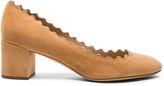 Chloé Suede Scallop Heels