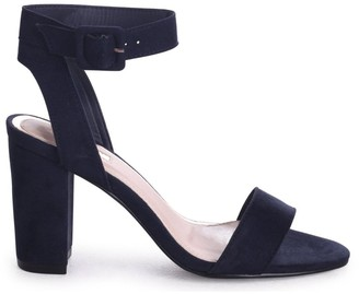 Linzi Millie Navy Suede Open Toe Block Heels With Ankle Strap And Buckle Detail