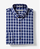 Express Fitted Check Button Collar Performance Shirt