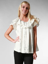 Circus Printed Poplin Blouse with Ruffle collar in Silver/White